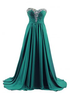 Luxurious Turquoise Sleeveless Brush Train Beading Prom Dress