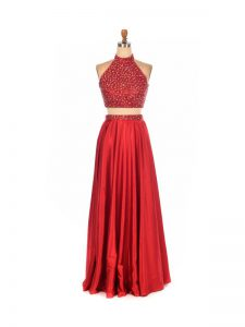 Elastic Woven Satin Sleeveless Floor Length Celebrity Dress and Beading