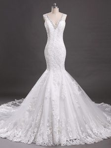 White Sleeveless Court Train Beading and Lace Wedding Dress