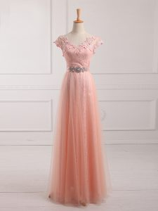 Beauteous Floor Length Peach Mother of Groom Dress V-neck Short Sleeves Lace Up