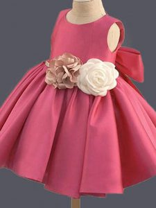 Delicate Hot Pink Scoop Clasp Handle Bowknot and Hand Made Flower Flower Girl Dresses Sleeveless
