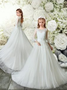 Best Selling Tulle Scoop 3 4 Length Sleeve Brush Train Clasp Handle Lace Flower Girl Dresses in White