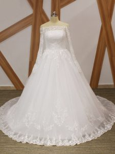Customized Ball Gowns Long Sleeves White Wedding Dress Court Train Lace Up