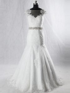 Fitting White Mermaid Tulle Scoop Cap Sleeves Beading and Lace Clasp Handle Wedding Dress Brush Train
