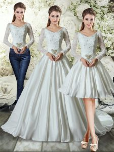 Latest Taffeta V-neck Long Sleeves Chapel Train Lace Up Lace and Belt Wedding Gowns in White