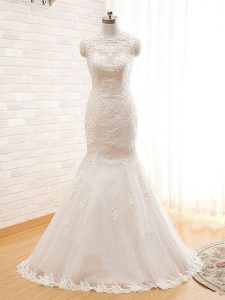 Attractive High-neck Sleeveless Tulle Wedding Gown Lace and Appliques Zipper