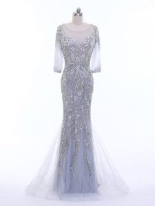 Adorable Silver 3 4 Length Sleeve Tulle Brush Train Zipper Red Carpet Gowns for Prom and Party and Military Ball