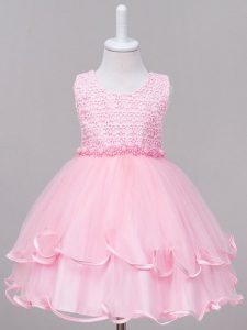 Baby Pink Tulle Zipper Juniors Party Dress Sleeveless Knee Length Lace