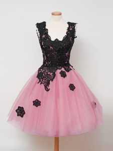 Pink Tulle Zipper Straps Sleeveless Knee Length Court Dresses for Sweet 16 Lace