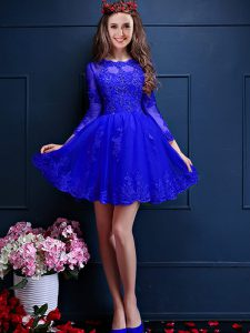Fabulous Blue Scalloped Neckline Beading and Lace and Appliques Wedding Party Dress 3 4 Length Sleeve Lace Up