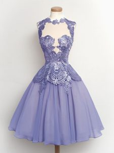Decent Lilac Dama Dress for Quinceanera Prom and Party and Wedding Party with Lace High-neck Sleeveless Lace Up