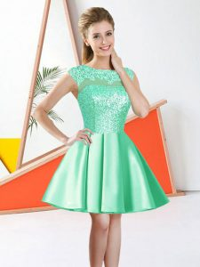Apple Green A-line Bateau Sleeveless Taffeta Knee Length Backless Beading and Lace Dama Dress for Quinceanera