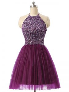 Mini Length Dark Purple Prom Dresses Tulle Sleeveless Beading and Sequins