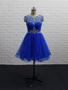 Adorable Mini Length Royal Blue Club Wear Tulle Sleeveless Beading and Ruching