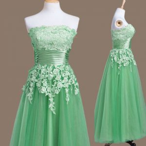 Lovely Sleeveless Appliques Lace Up Quinceanera Dama Dress