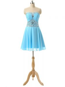 Traditional Chiffon Sweetheart Sleeveless Lace Up Beading Homecoming Gowns in Baby Blue