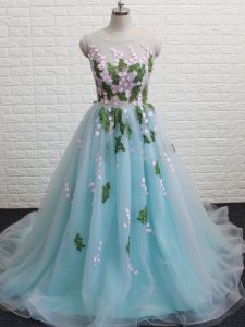 Inexpensive Aqua Blue Sleeveless Brush Train Appliques Prom Dress