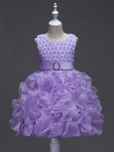 Customized Lavender Little Girls Pageant Gowns Wedding Party with Ruffles and Belt Scoop Sleeveless Lace Up