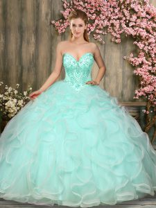 Nice Floor Length Apple Green Quince Ball Gowns Sweetheart Sleeveless Lace Up
