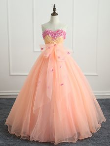 Organza Sweetheart Sleeveless Lace Up Beading and Appliques and Bowknot 15th Birthday Dress in Peach
