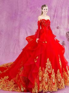 Lace Up Quinceanera Dress Red for Military Ball and Sweet 16 and Quinceanera with Appliques and Ruffles Court Train