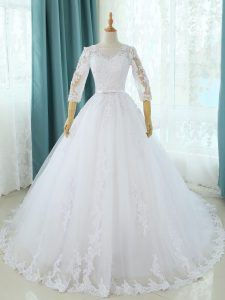 White Half Sleeves Tulle Court Train Zipper Wedding Gown for Beach and Wedding Party