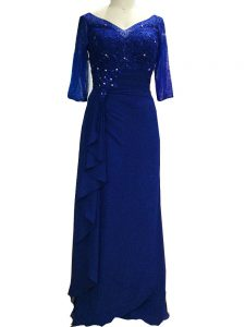 Excellent Column/Sheath Mother of Bride Dresses Royal Blue V-neck Chiffon Sleeveless Floor Length Zipper