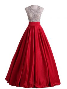 Lovely Red Sleeveless Beading Floor Length