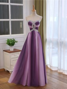 Multi-color Empire Chiffon and Printed Sweetheart Sleeveless Beading and Ruching Lace Up Formal Dresses