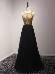 Empire Evening Dress Black Scoop Tulle Sleeveless Floor Length Lace Up