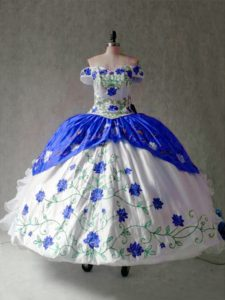 Comfortable Blue And White Off The Shoulder Lace Up Embroidery and Ruffles Sweet 16 Dress Cap Sleeves