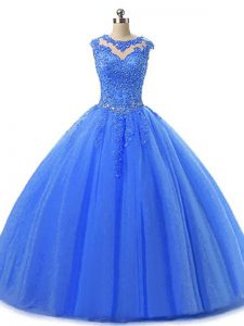 Fashionable Floor Length Ball Gowns Sleeveless Blue Sweet 16 Dress Lace Up