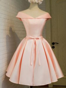 Inexpensive Off The Shoulder Cap Sleeves Bridesmaid Dresses Knee Length Belt Peach Taffeta