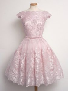Glamorous Cap Sleeves Knee Length Lace Lace Up Quinceanera Court Dresses with Baby Pink