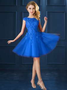 Blue A-line Lace and Belt Damas Dress Lace Up Tulle Cap Sleeves Knee Length
