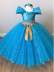 Excellent Tulle Cap Sleeves Floor Length Girls Pageant Dresses and Sequins and Belt