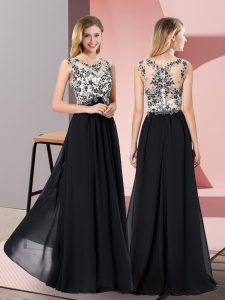 Super Scoop Sleeveless Floor Length Appliques Black Chiffon