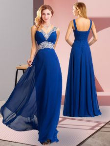 Low Price Sleeveless Beading Lace Up Prom Party Dress with Royal Blue