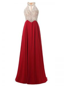Hot Sale Wine Red Chiffon Zipper Dress for Prom Sleeveless Floor Length Beading