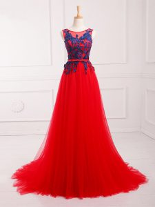 Sleeveless Lace and Appliques Lace Up Oscars Dresses with Red Brush Train