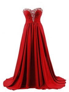 Attractive Red Empire Sweetheart Sleeveless Elastic Woven Satin Brush Train Lace Up Beading