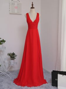 Red Bridesmaid Gown Prom and Party and Wedding Party with Ruching V-neck Sleeveless Zipper