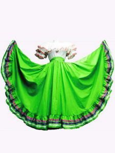 Colorful Green Lace Up Quinceanera Dresses Ruffled Layers Short Sleeves Floor Length