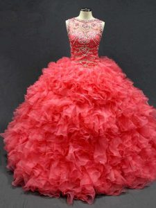 Charming Beading and Ruffles Ball Gown Prom Dress Coral Red Lace Up Sleeveless Floor Length