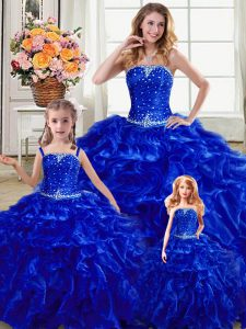 Exceptional Floor Length Royal Blue 15th Birthday Dress Strapless Sleeveless Lace Up