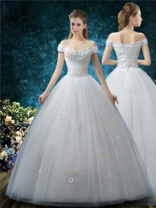 Dazzling White Tulle Lace Up Wedding Gowns Cap Sleeves Floor Length Beading and Appliques
