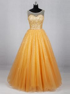 Gold Lace Up Prom Dress Beading and Sequins Sleeveless Floor Length