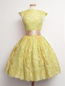 Fantastic Gold High-neck Neckline Belt Quinceanera Court of Honor Dress Cap Sleeves Lace Up
