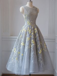 Grey Tulle Criss Cross Scoop Sleeveless Tea Length Quinceanera Court of Honor Dress Lace