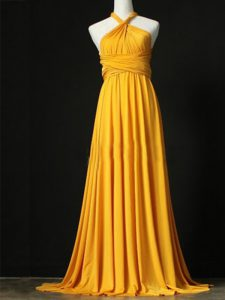 Orange Quinceanera Court Dresses Prom and Party and Wedding Party with Ruching Halter Top Sleeveless Sweep Train Criss Cross